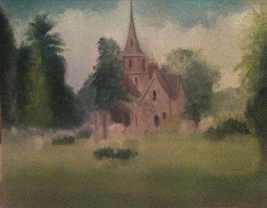 Church Painting - Burlington  NJ  Church by Sheila Mashaw
