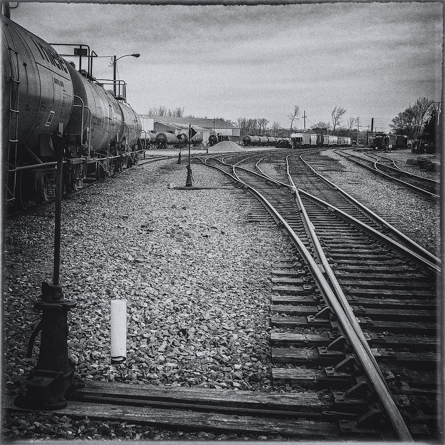 Burlington vermont train yard vintage grunge black and white