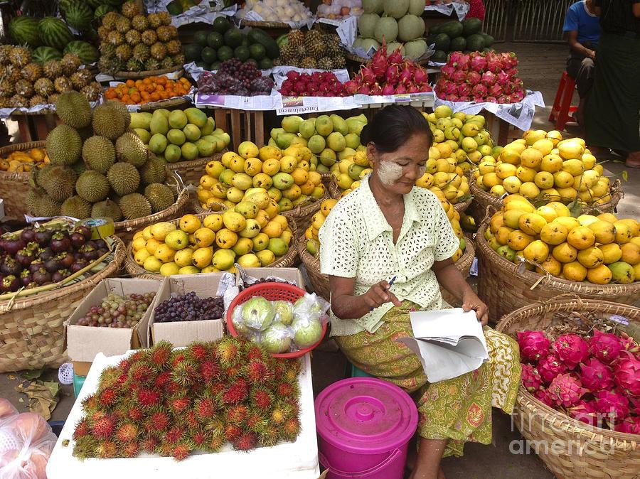 Burmese Lady selling Colourful Fresh Fruit Zay Cho Street Market 27th Street Mandalay Burma by PIXELS  XPOSED Ralph A Ledergerber Photography