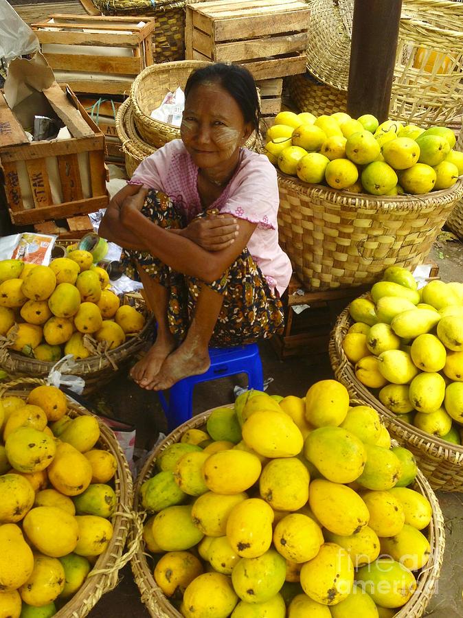 Burmese Lady selling fresh Mangoes Zay Cho Street Market 27th Street Mandalay Burma by PIXELS  XPOSED Ralph A Ledergerber Photography
