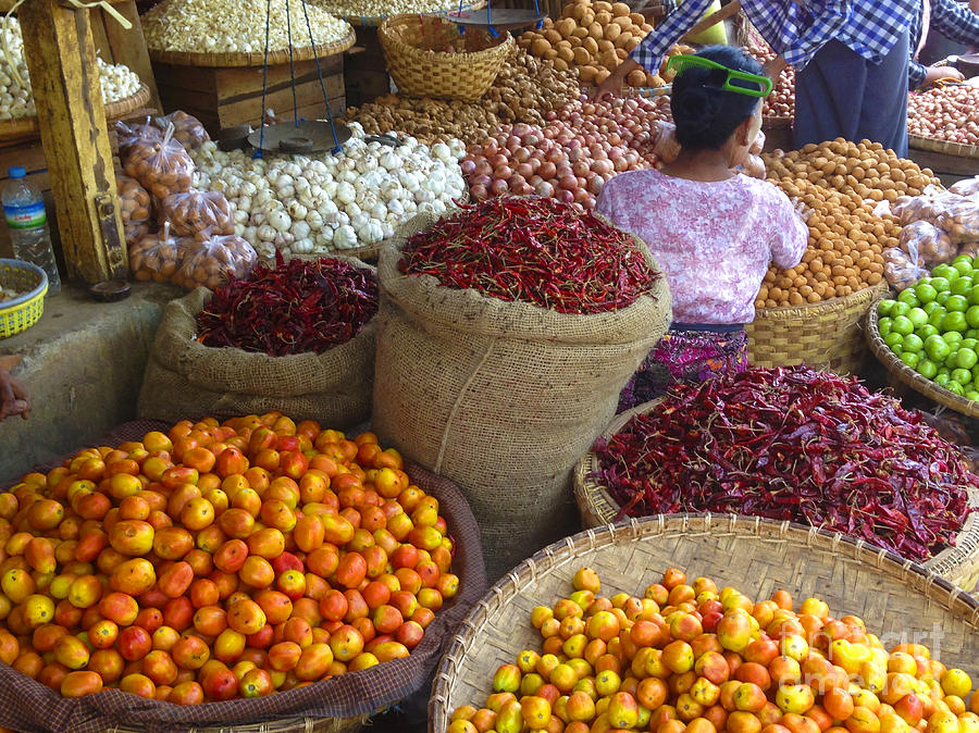 Burmese Lady selling Fruit and Vegetables Zay Cho Street Market 27th Street Mandalay Burma by PIXELS  XPOSED Ralph A Ledergerber Photography