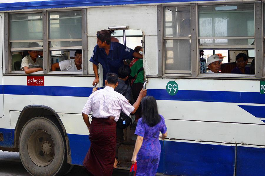 Bus Photograph - Burmese Using Public Transport Yangon Myanmar by PIXELS  XPOSED Ralph A Ledergerber Photography