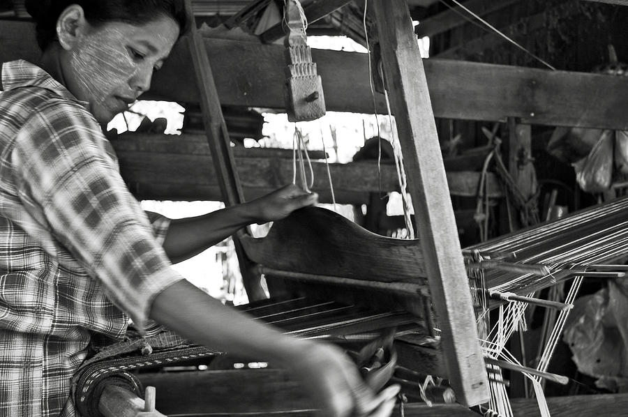 Woman Photograph - Burmese Woman Working With A Handloom Weaving. by RicardMN Photography