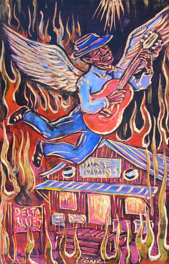 Blues Painting - Burnin Blue Spirit by Robert Ponzio