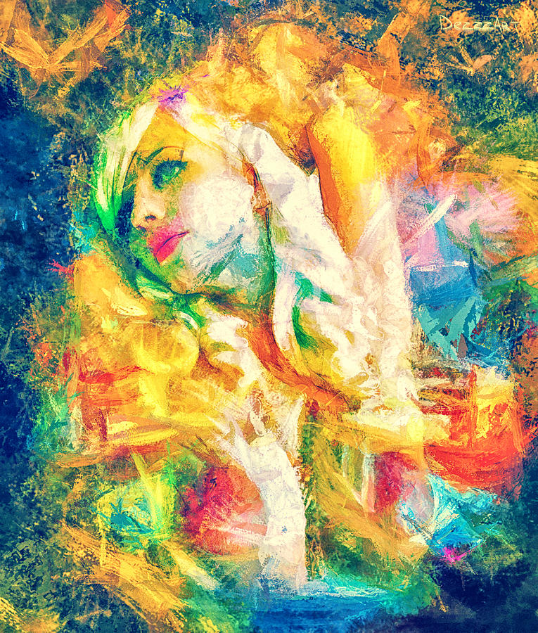 Female Portrait Digital Art - Burning Dream by Denis Galkin