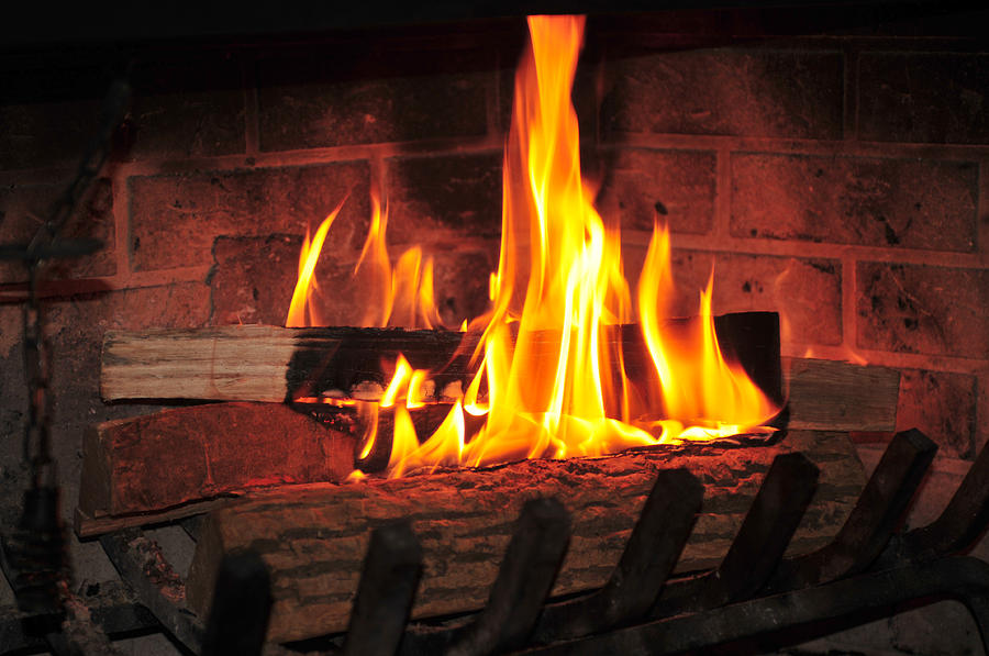 Burning Fire At Fireplace Photograph By Anton Oparin