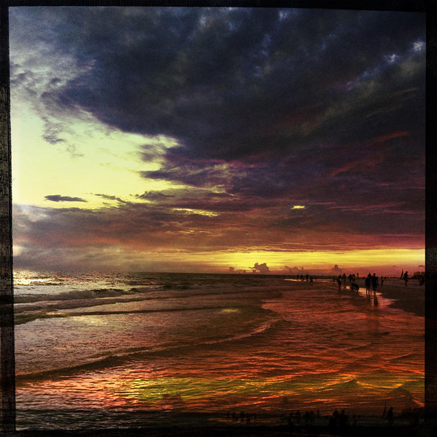 Beach Photograph - Burning Night On Siesta Key  by Alison Maddex
