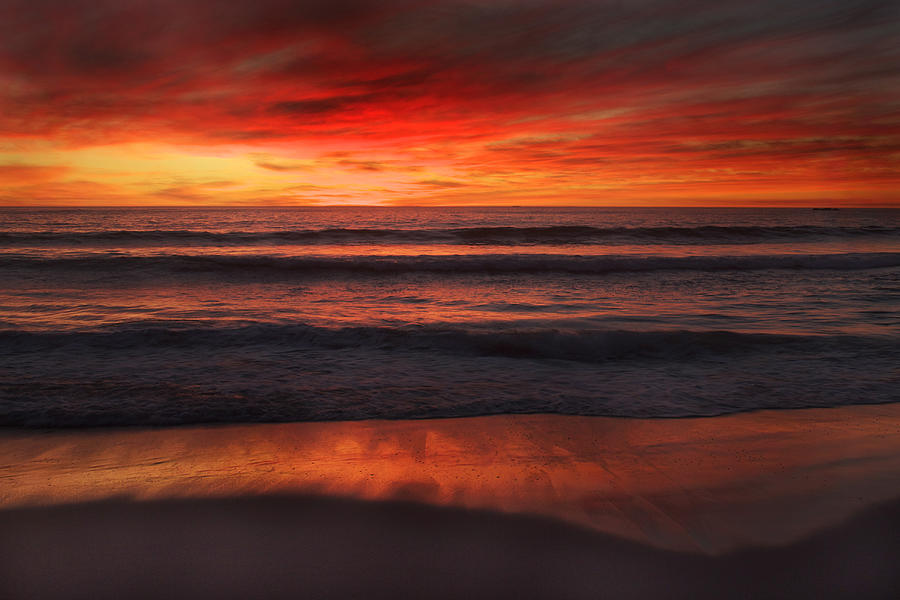 Sunset Photograph - Burning Red Sunset by Ed Pettitt