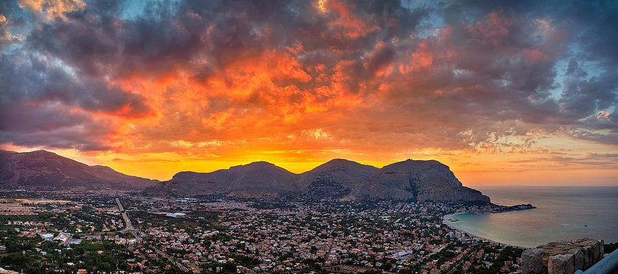 Mondello Photograph - Burning Sicilian Sunset by Viacheslav Savitskiy