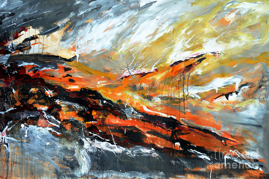 Abstract Painting - Burning Sky- Abstract by Ismeta Gruenwald