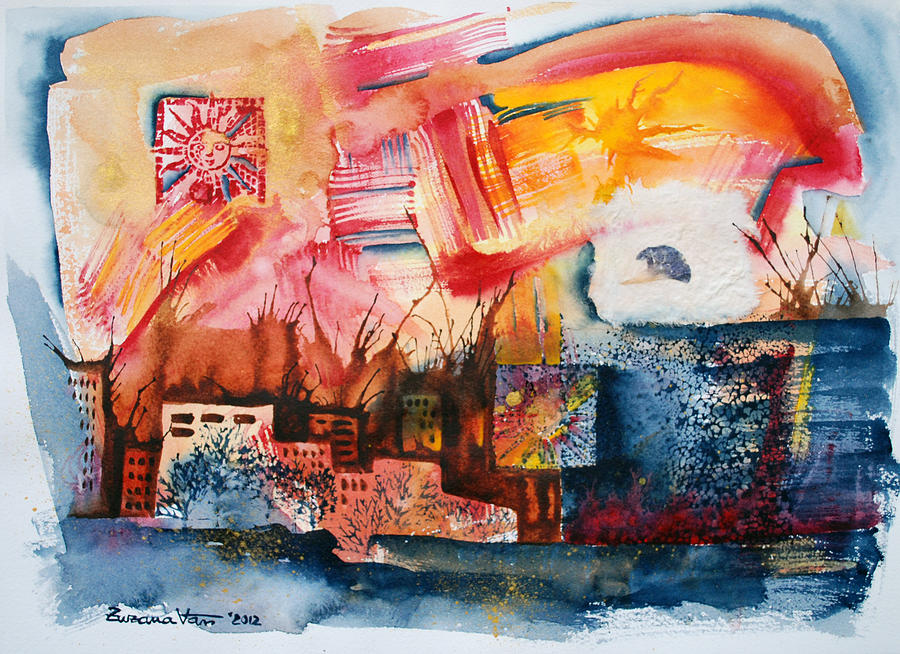 Watercolor Painting - Burning Sunset by Zuzana Vass