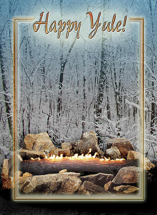 Yule Digital Art - Burning Yule Log by Melissa A Benson