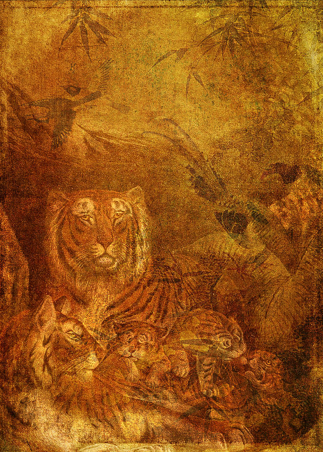 Tigers Digital Art - Burnished Tigers by Sarah Vernon