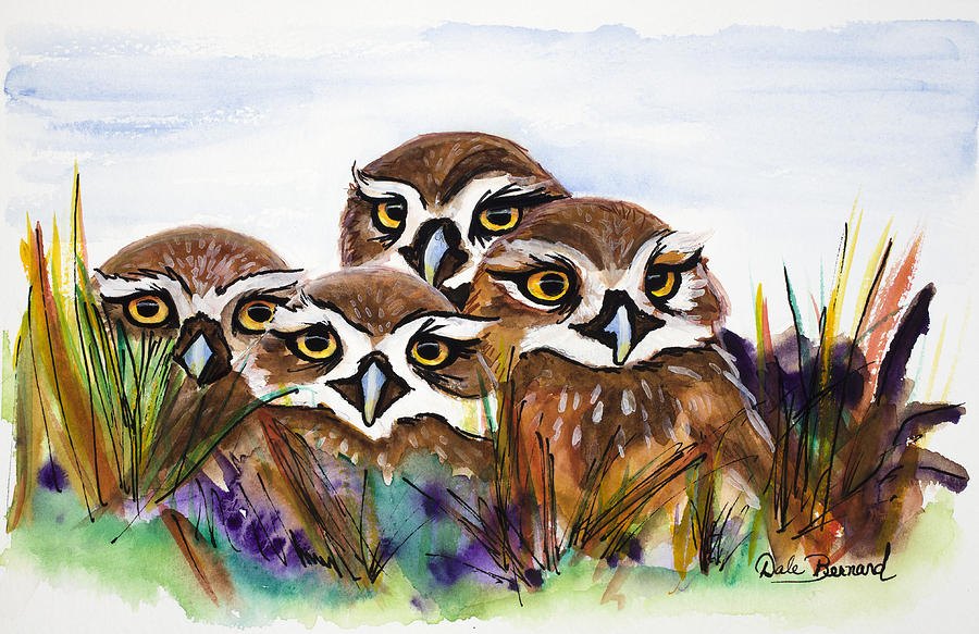 Burrowing Owls Painting - Burrowing Owls by Dale Bernard