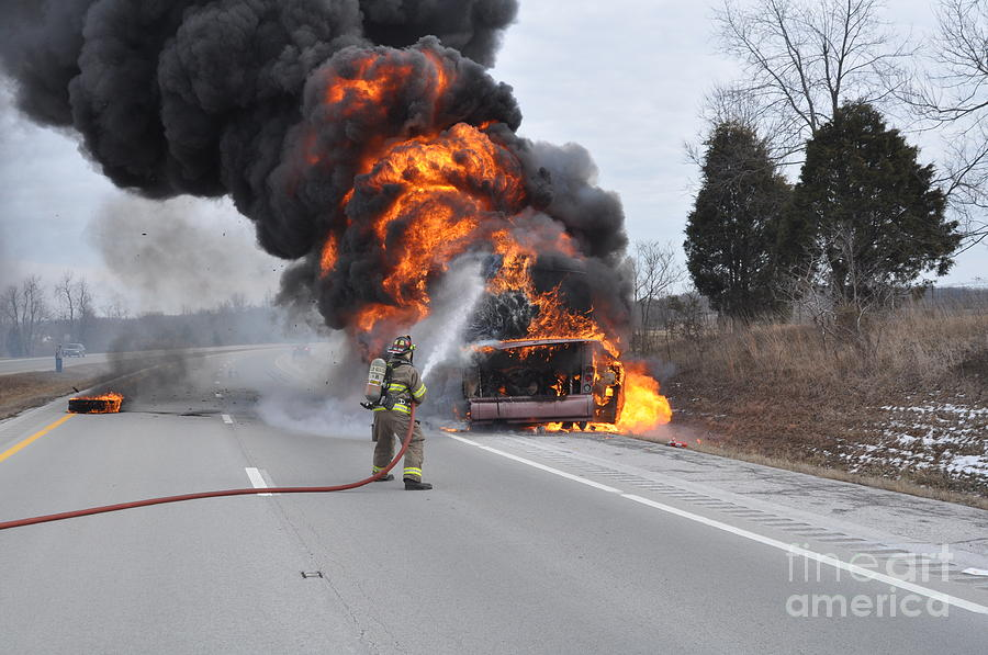Vehicle Fire Photograph - Bus Fire by Steven Townsend