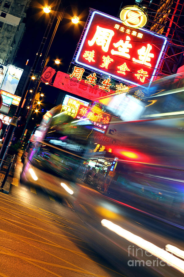 Hong Kong Photograph - Bus Race In Mong Kok by Lars Ruecker
