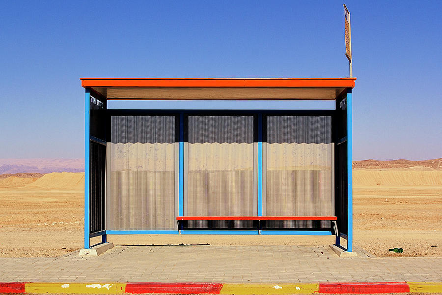 Tranquility Photograph - Bus Stop In Neghev Desert N°1 by Vetmed123 Photo