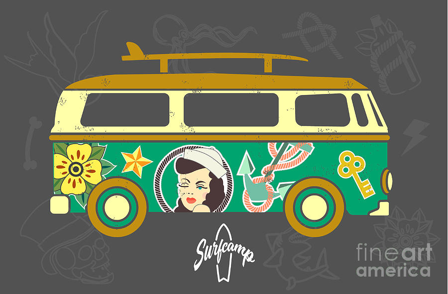 Bus Digital Art - Bus With Surfboard by Naches