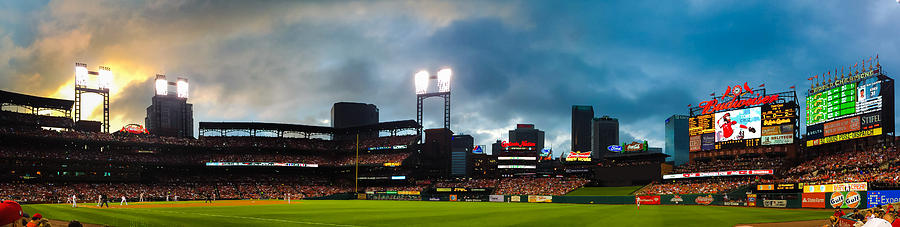 Night Game At Busch Stadium - St. Louis Cardinals Vs. Boston Red Sox Photograph