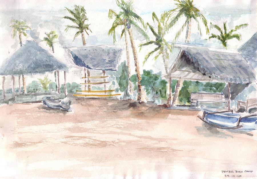 Painting - Bush Camp Shelter by David  Hawkins