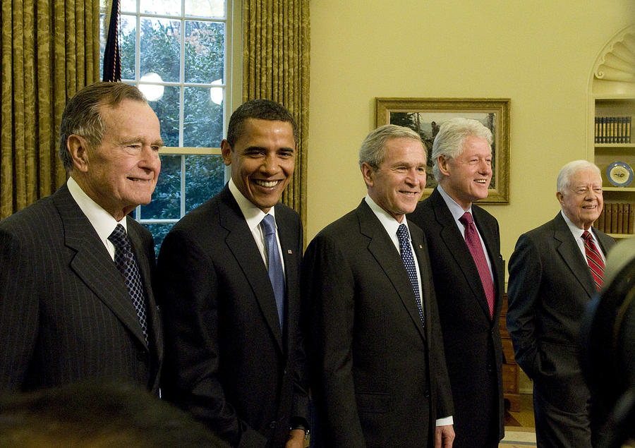 Bush Hosts Obama, Former Presidents At White House Luncheon Photograph by Pool