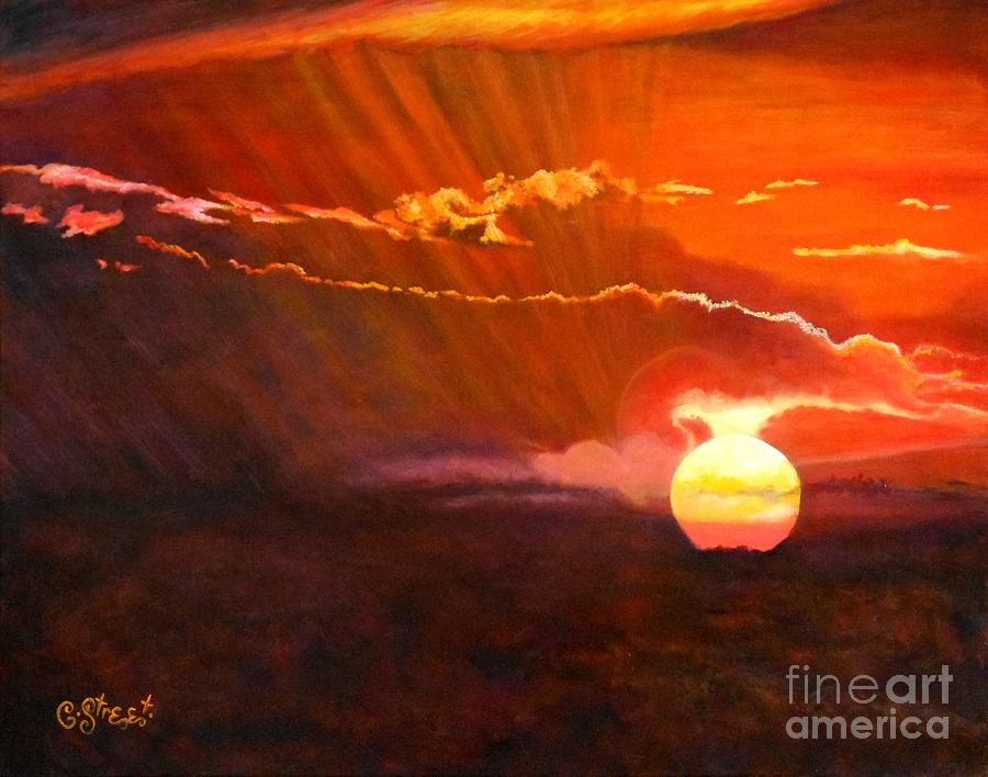 Sunset Painting - Bushveld Sunset by Caroline Street