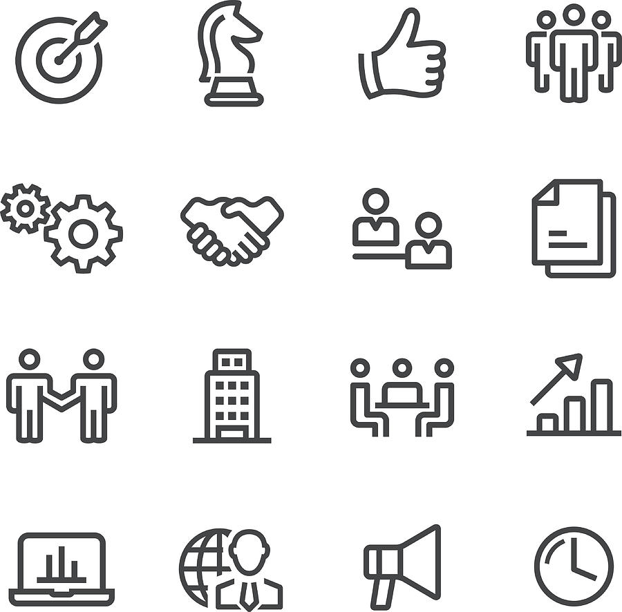 Business And Strategy Icons - Line Series Drawing by -victor-