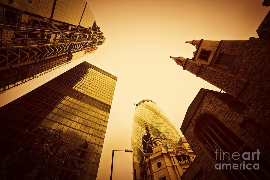 Skyscraper Photograph - Business Architecture Skyscrapers In London Uk Golden Tint by Michal Bednarek