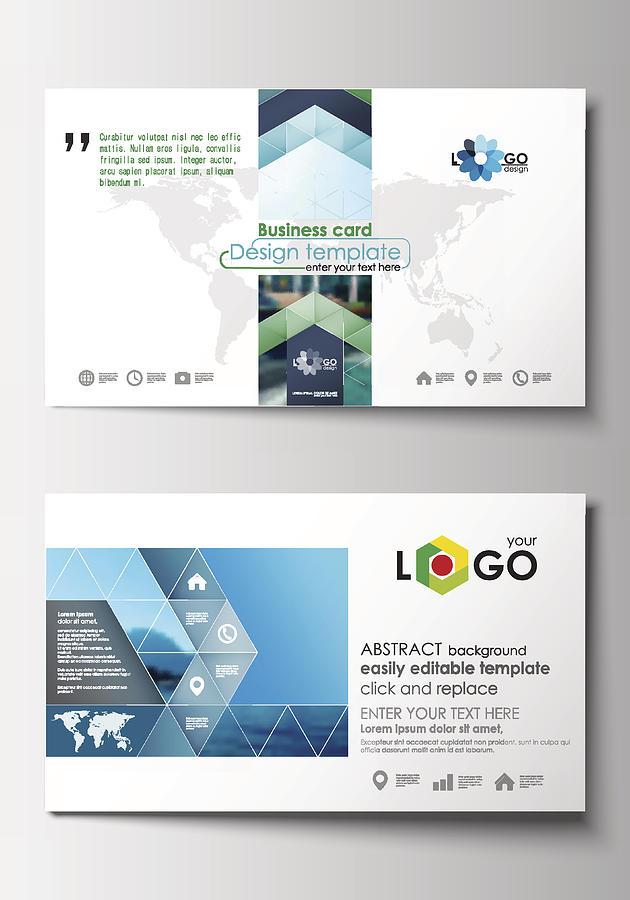 Business Card Templates. Flat Design Blue Color Travel Decoration Layout