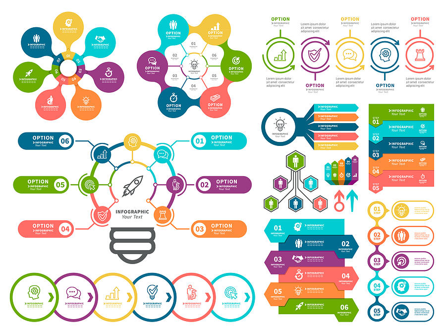 Business diagrams and Infographic Elements. Drawing by Artvea
