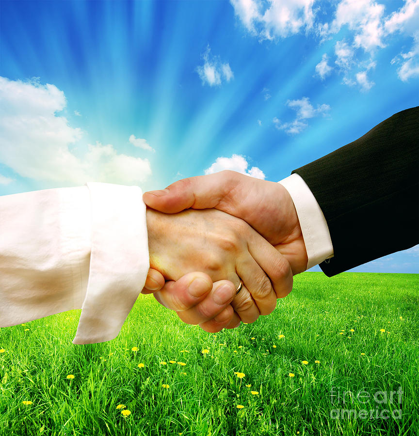 Business Handshake On Nature Background Photograph By