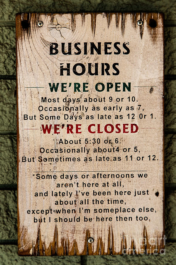 Business Hours Photograph - Business Hours by Jon Burch Photography
