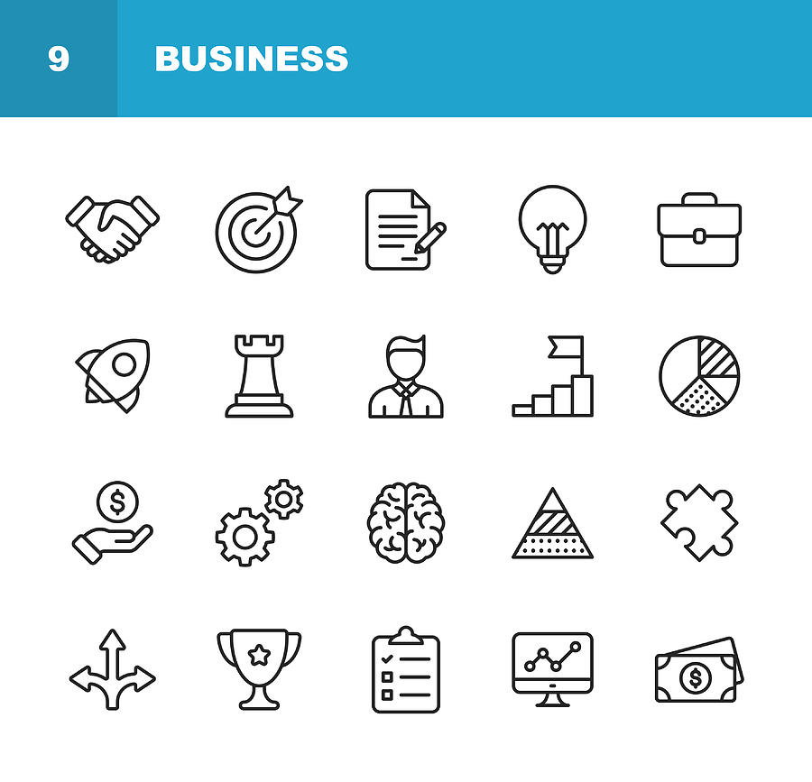 Business Line Icons. Editable Stroke. Pixel Perfect. For Mobile and Web. Contains such icons as Handshake, Target Goal, Agreement, Inspiration, Startup. Drawing by Rambo182