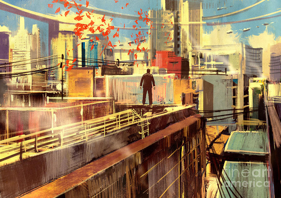 Game Digital Art - Business Man Standing On The Rooftop Of by Tithi Luadthong