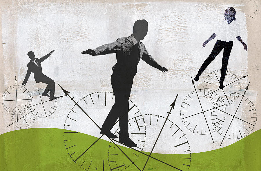 Adult Photograph - Business People Balancing On Compass by Ikon Images