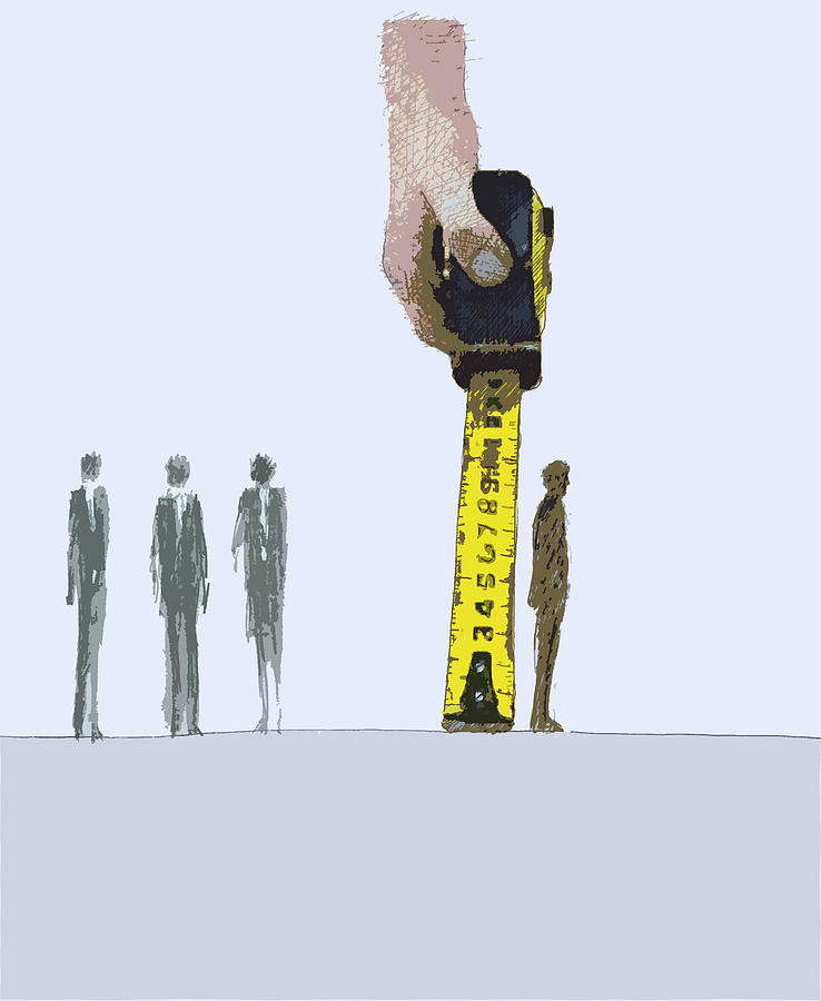Accomplishment Photograph - Business People Being Measured By Large by Ikon Ikon Images