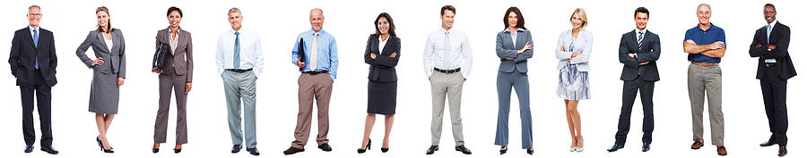 Business people standing in a row on white background Photograph by Squaredpixels