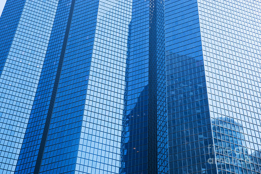 Skyscraper Photograph - Business Skyscrapers Modern Architecture In Blue Tint by Michal Bednarek