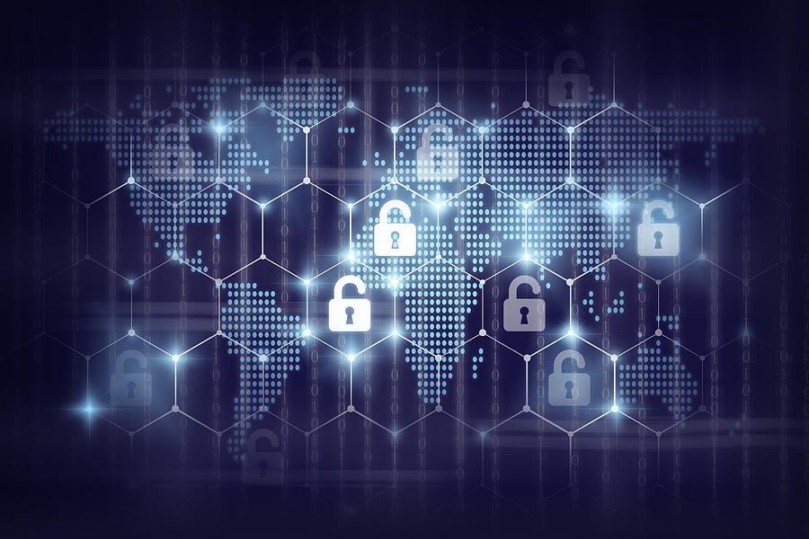 business technology securities concept,Security key lock icon digital display over the world map and Hexagon shape on matrix digital number technology and dark blue background Photograph by Photographer is my life.