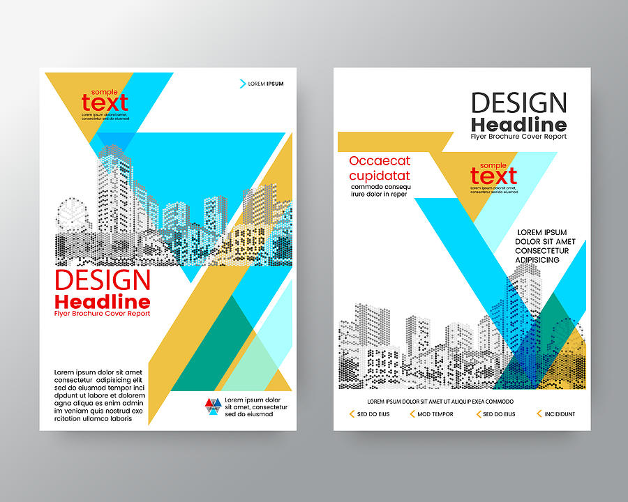 business templates creative design abstract blue yellow diagonal brochure annual report cover flyer poster design layout vector template in a4 size