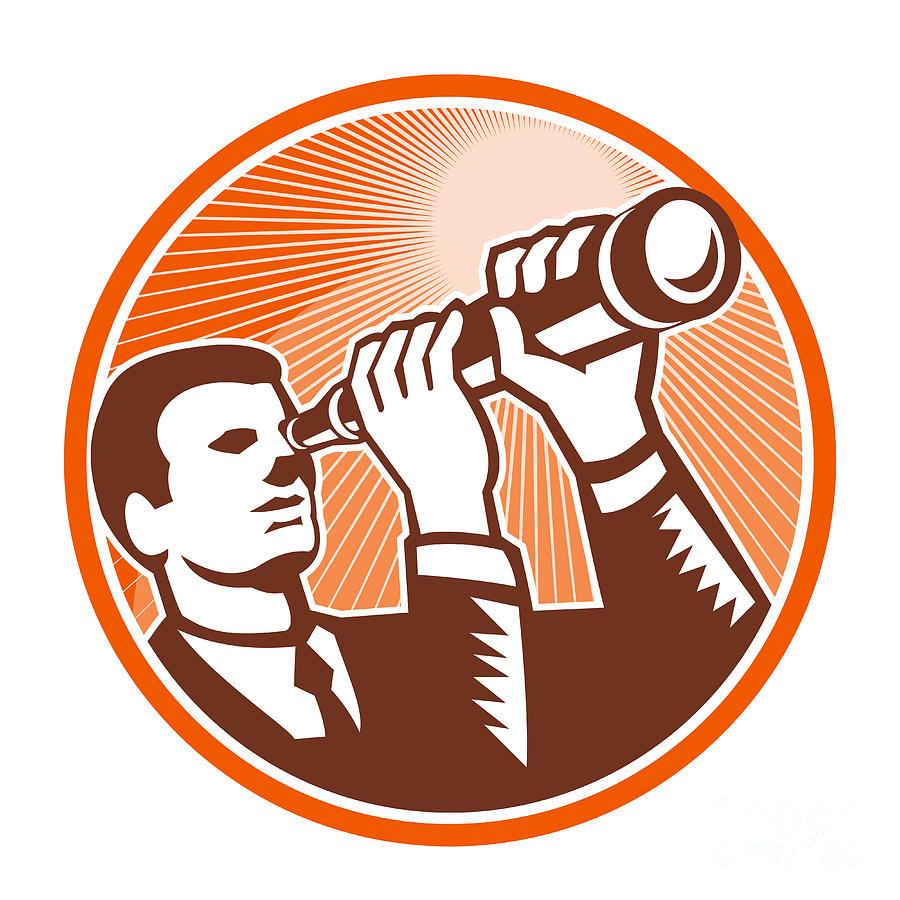 Businessman Digital Art - Businessman Holding Looking Telescope Woodcut by Aloysius Patrimonio