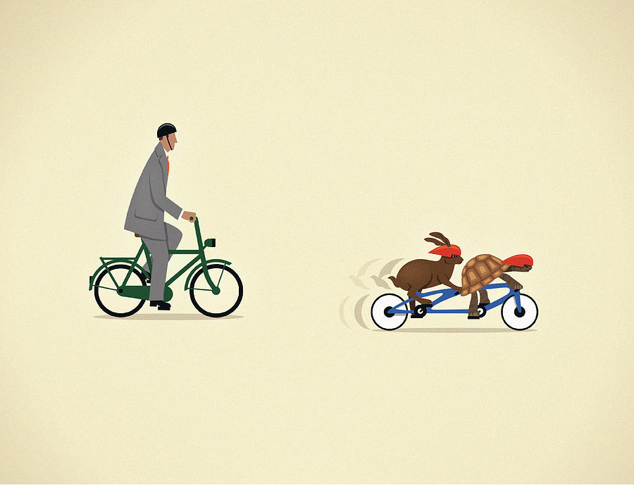 Businessman On Bicycle Behind Tortoise Digital Art by Mark Airs