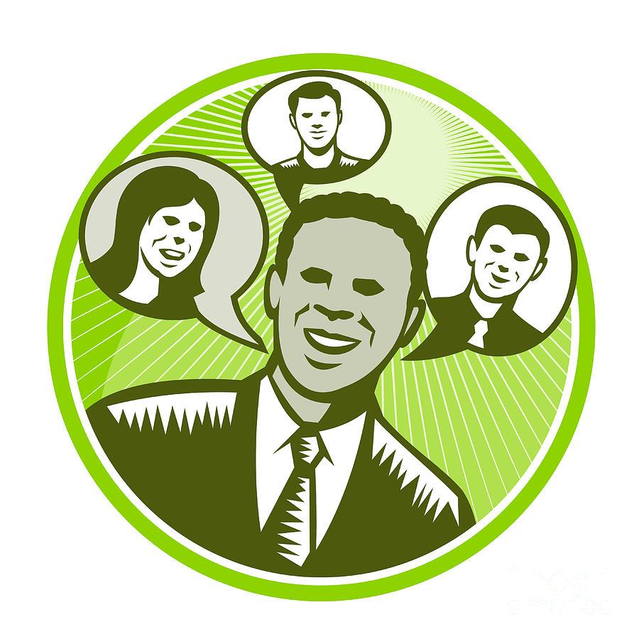 African-american Digital Art - Businessman People Smiling Speech Bubble by Aloysius Patrimonio