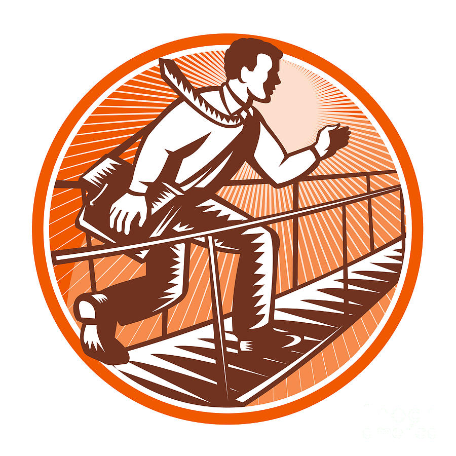 Businessman Digital Art - Businessman Satchel Bag Running Bridge by Aloysius Patrimonio