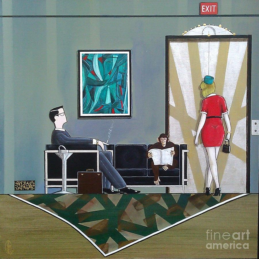 Mad Men Painting - Businessman Sitting In Chair Reading A Newspaper by John Lyes