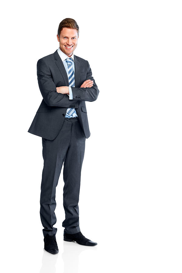 Businessman standing with his arms folded on white Photograph by Dean Mitchell