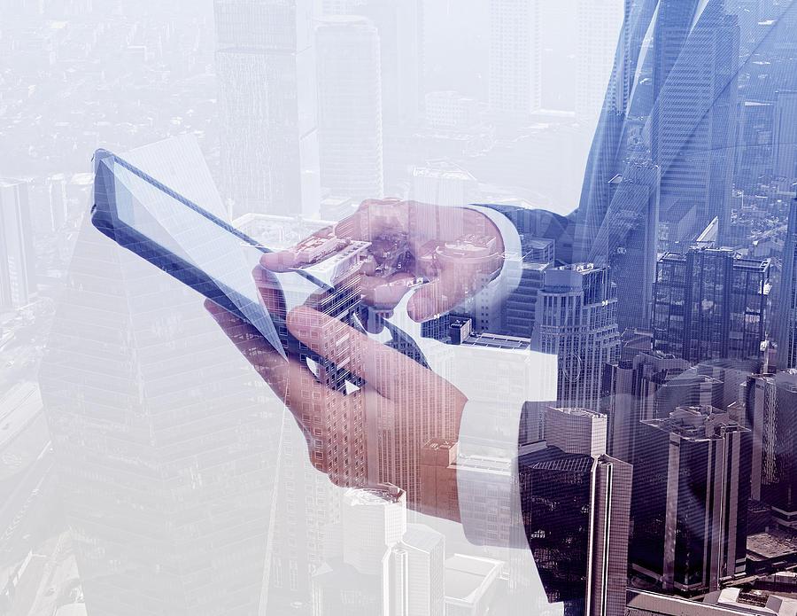 Businessman Using Tablet Pc & Double Photograph by Hocus-focus