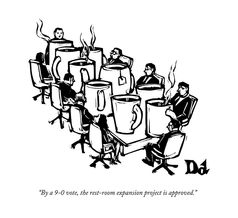 Businessmen Sit Around Conference Table Drawing by Drew Dernavich