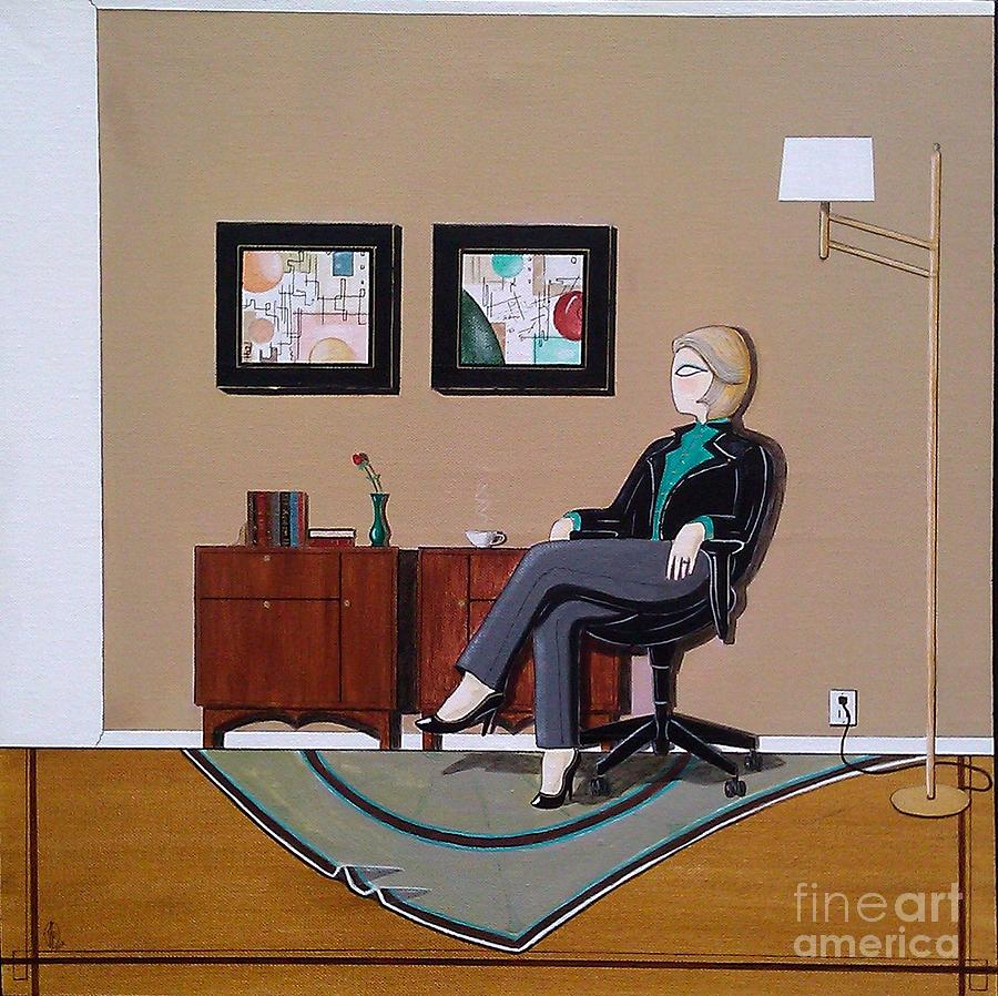 Businesswoman Sitting In Chair Painting by John Lyes