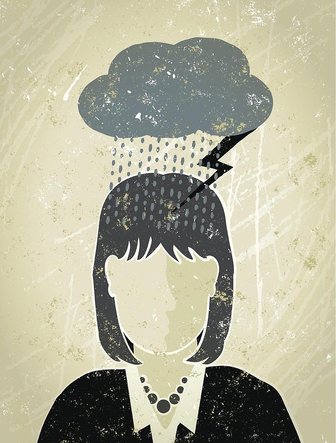 Businesswoman under a Dark Cloud Drawing by Mhj